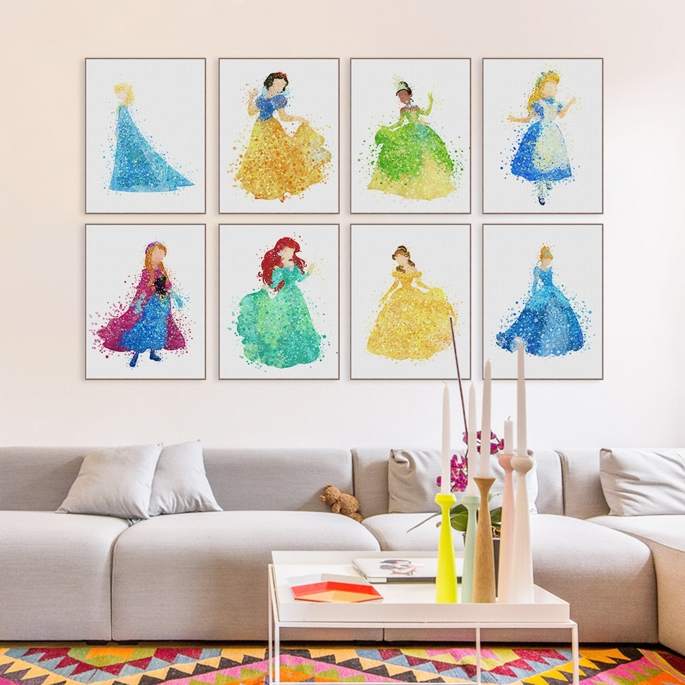 Princess Canvas Wall Art With Well Liked Modern Princess Cinderella Snow Cartoon Pop Movie Canvas Poster (View 10 of 15)