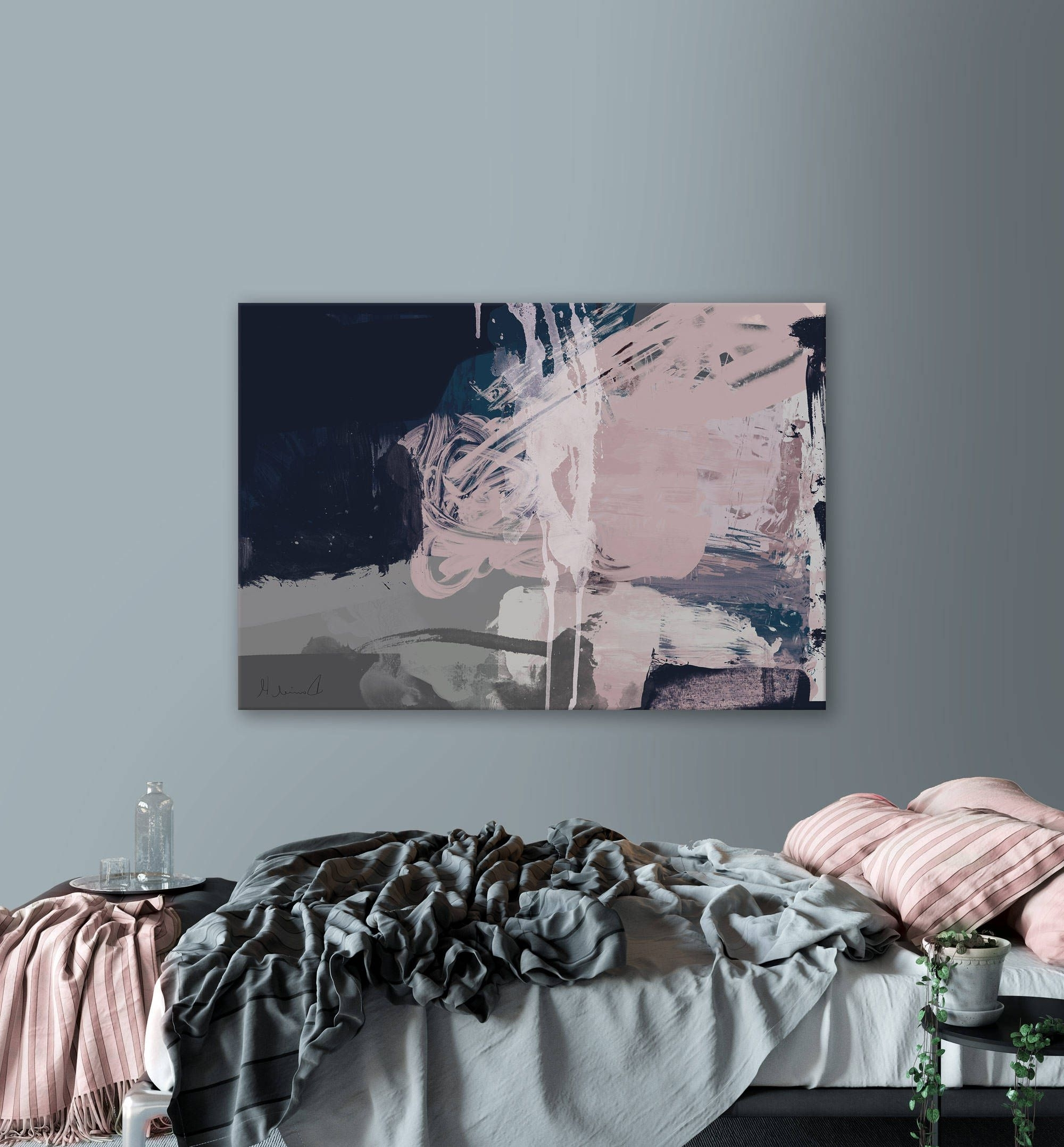 Printable Abstract Art, Navy Blue And Pink Art, Instant Download Regarding Latest Navy Blue Wall Art (View 13 of 15)