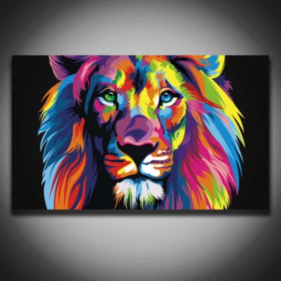 Printed Male Lion Animal Modular Picture Colorful Modern Painting In Favorite Abstract Lion Wall Art (View 9 of 15)
