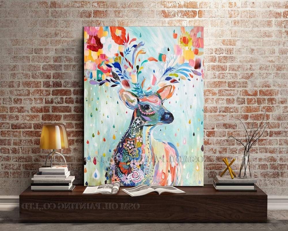 Professional Artist Hand Painted Bright Colors Lovely Deer Oil Regarding Most Recently Released Abstract Deer Wall Art (View 11 of 15)