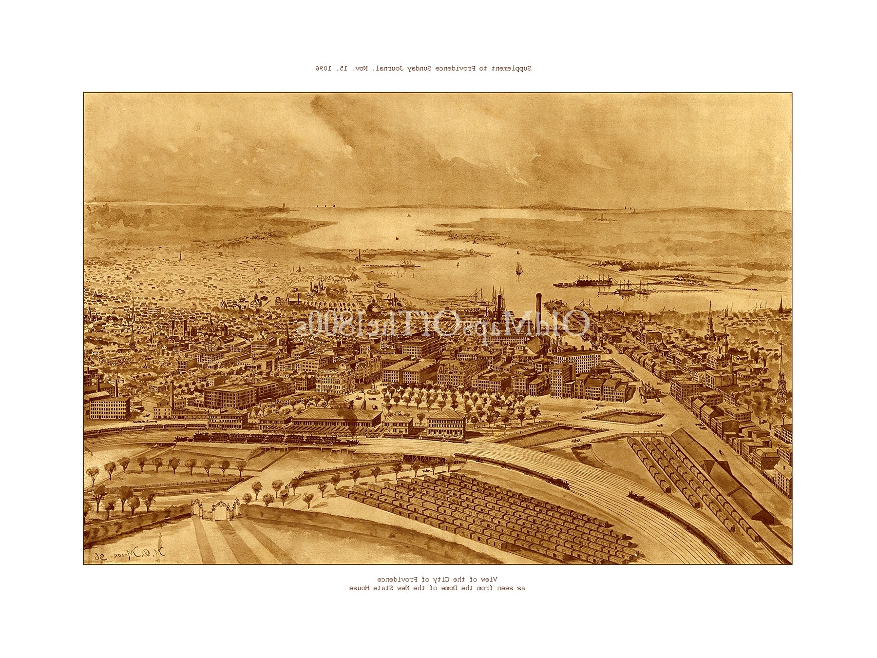 Providence, Ri In 1896 – Bird's Eye View Map, Aerial Map, Panorama For Popular Vintage Map Wall Art (View 10 of 15)