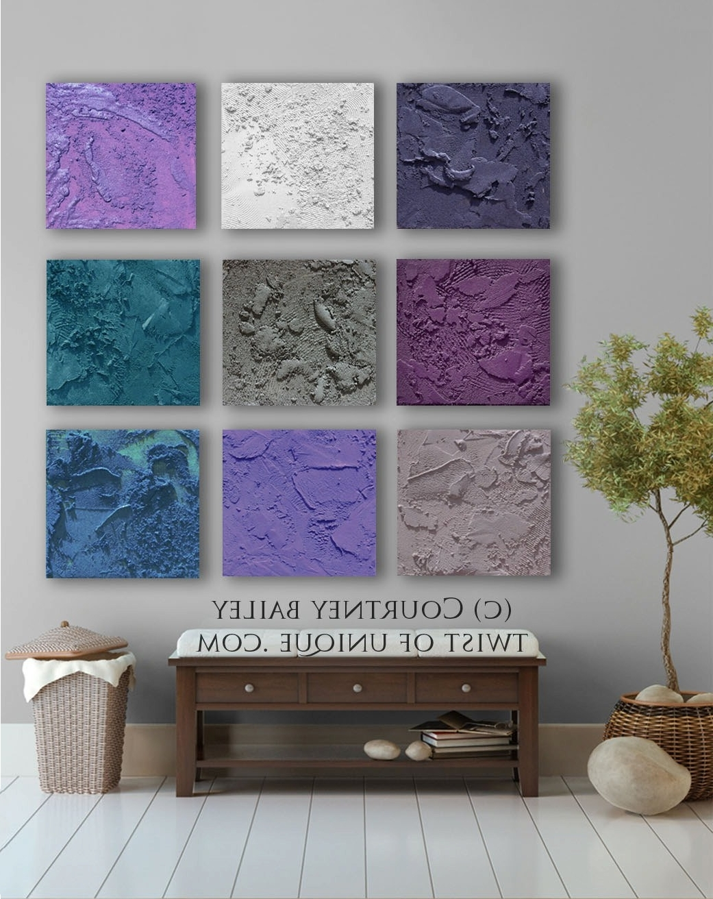 Purple And Grey Abstract Wall Art Inside Well Known Square Abstract Painting, 9 Panel Custom Abstract Wall Art, Large (View 11 of 15)