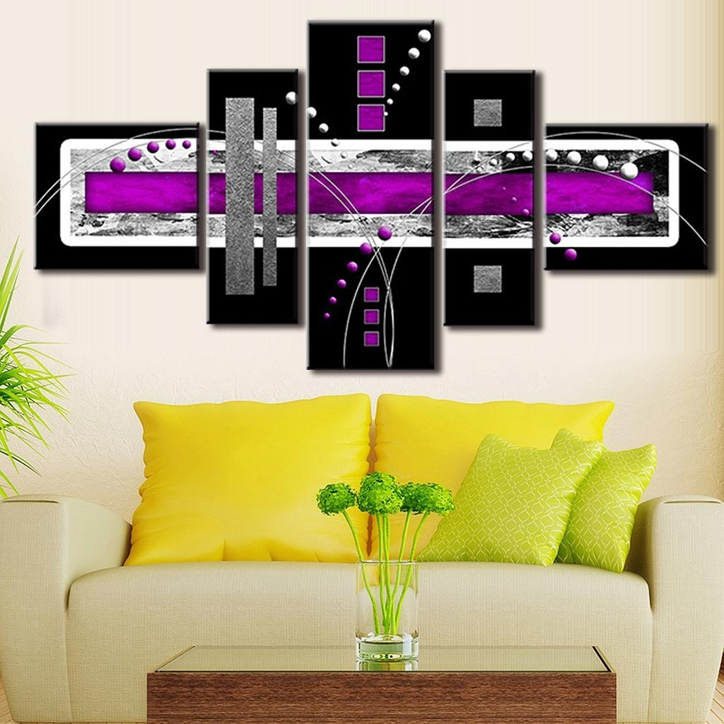 Top 15 of Purple And Grey Abstract Wall Art