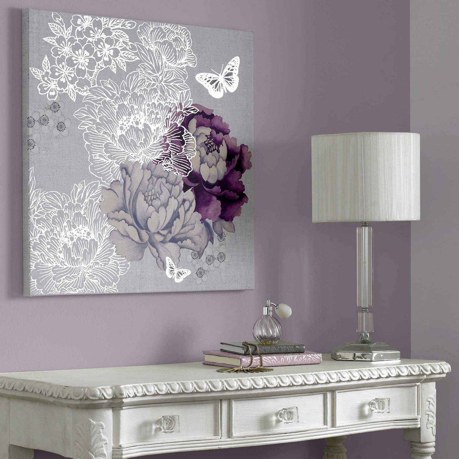 Purple Bathroom Wall Art Regarding Fashionable All That Glitters – Floral Metallic, Wall Art, 60X60Cm (View 8 of 15)