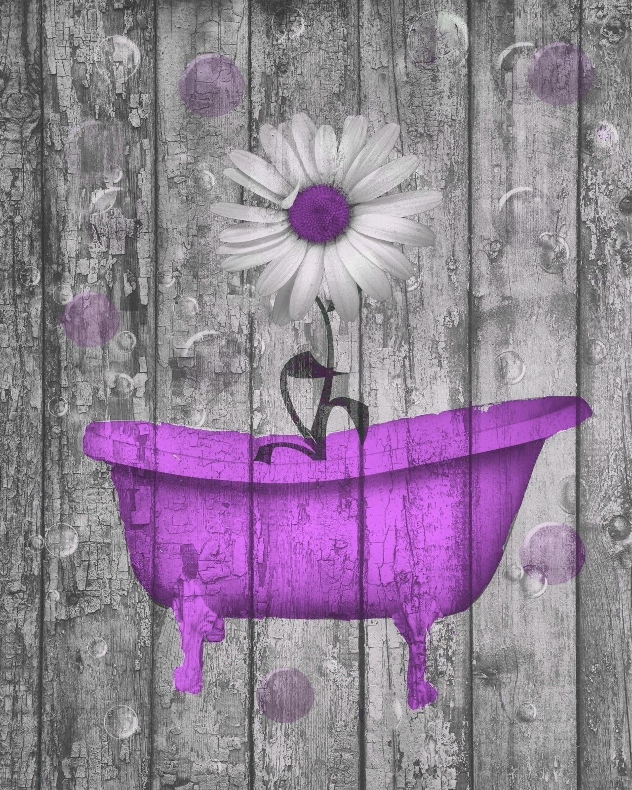 Purple Bathroom Wall Art Throughout Well Liked Purple Daisy Flower Bubbles Rustic Home Decor Purple Bathroom Wall (View 9 of 15)
