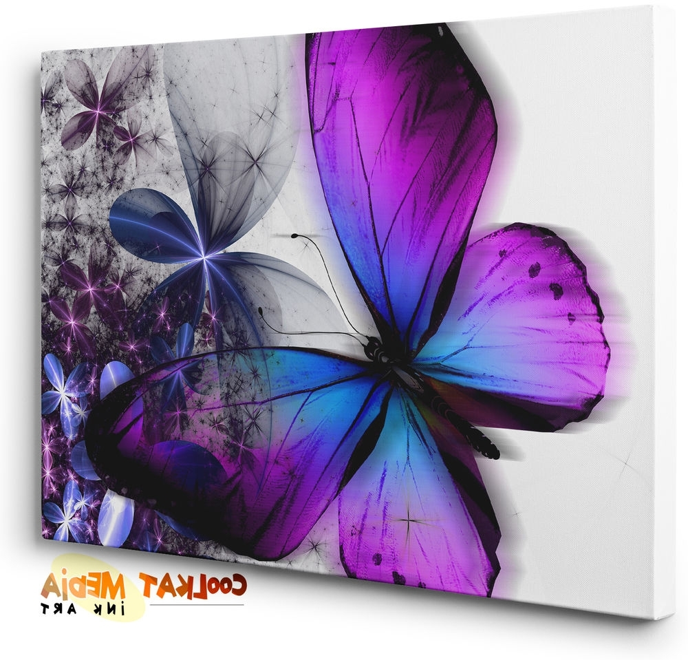 Purple Blue Abstract Floral Butterfly Canvas Wall Art Print (ready Within Popular Abstract Butterfly Wall Art (View 3 of 15)