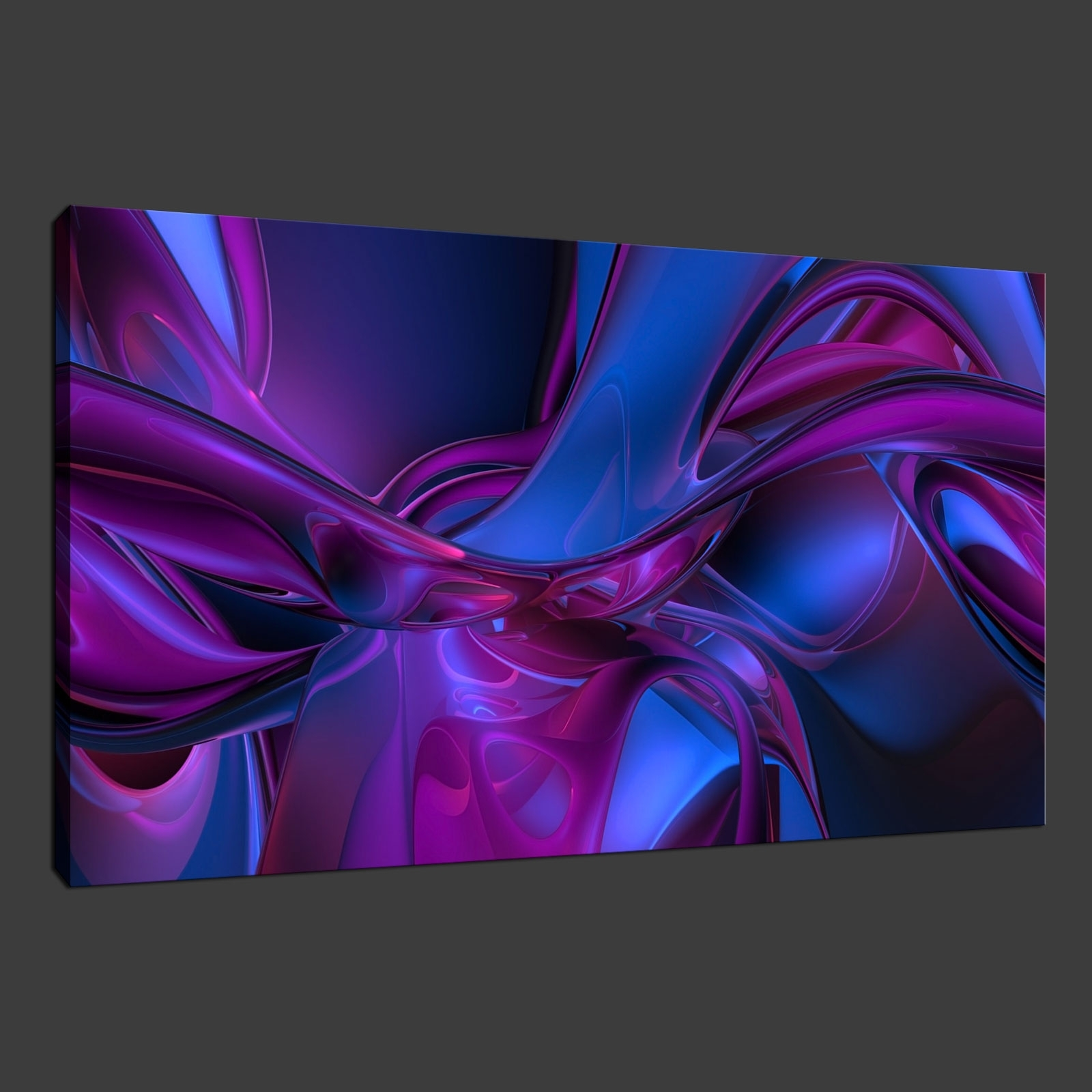 Purple Blue Abstract Premium Canvas Print Wall Art Modern Design With Fashionable Blue Abstract Wall Art (View 12 of 15)
