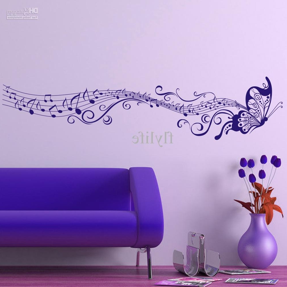 Purple Wall Art For Bedroom Pertaining To Most Up To Date Large Singing Purple Butterfly Wall Stickers Home Decor Art (View 4 of 15)