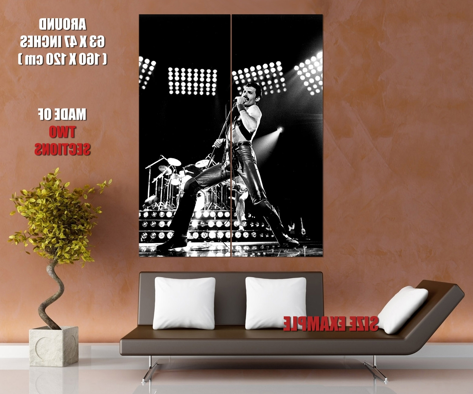 Queen Rare Bw Freddie Mercury Microphone Rock Band Giant Wall With Popular Freddie Mercury Wall Art (View 12 of 15)