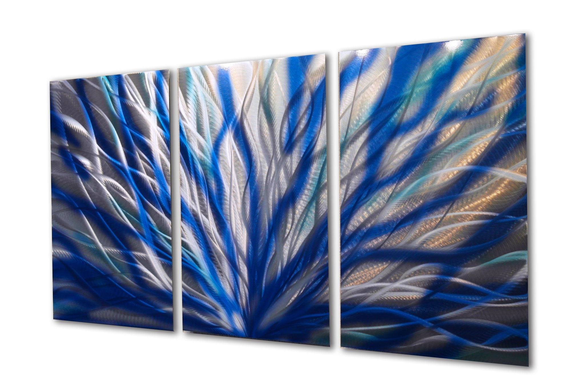 Radiance Blue 47 V2 – Metal Wall Art Abstract Sculpture Modern With Favorite Aqua Abstract Wall Art (View 3 of 15)