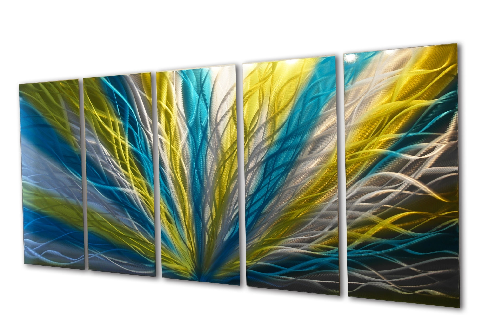 Radiance Blue Yellow 36X79 – Metal Wall Art Abstract Sculpture Inside Favorite Yellow And Blue Wall Art (Gallery 4 of 15)