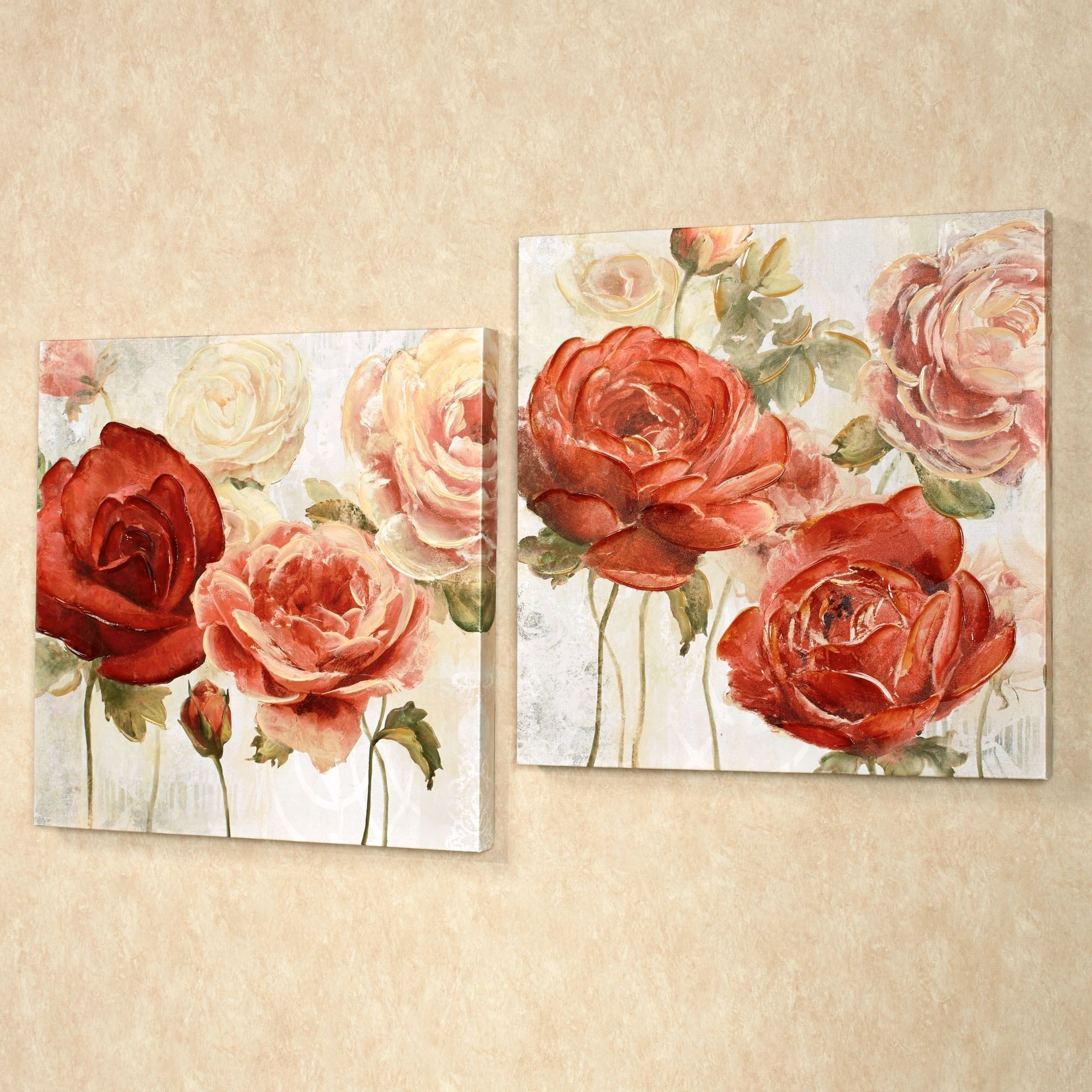 Radiant Blooms Rose Floral Canvas Wall Art Set Inside Newest Rose Canvas Wall Art (View 9 of 15)