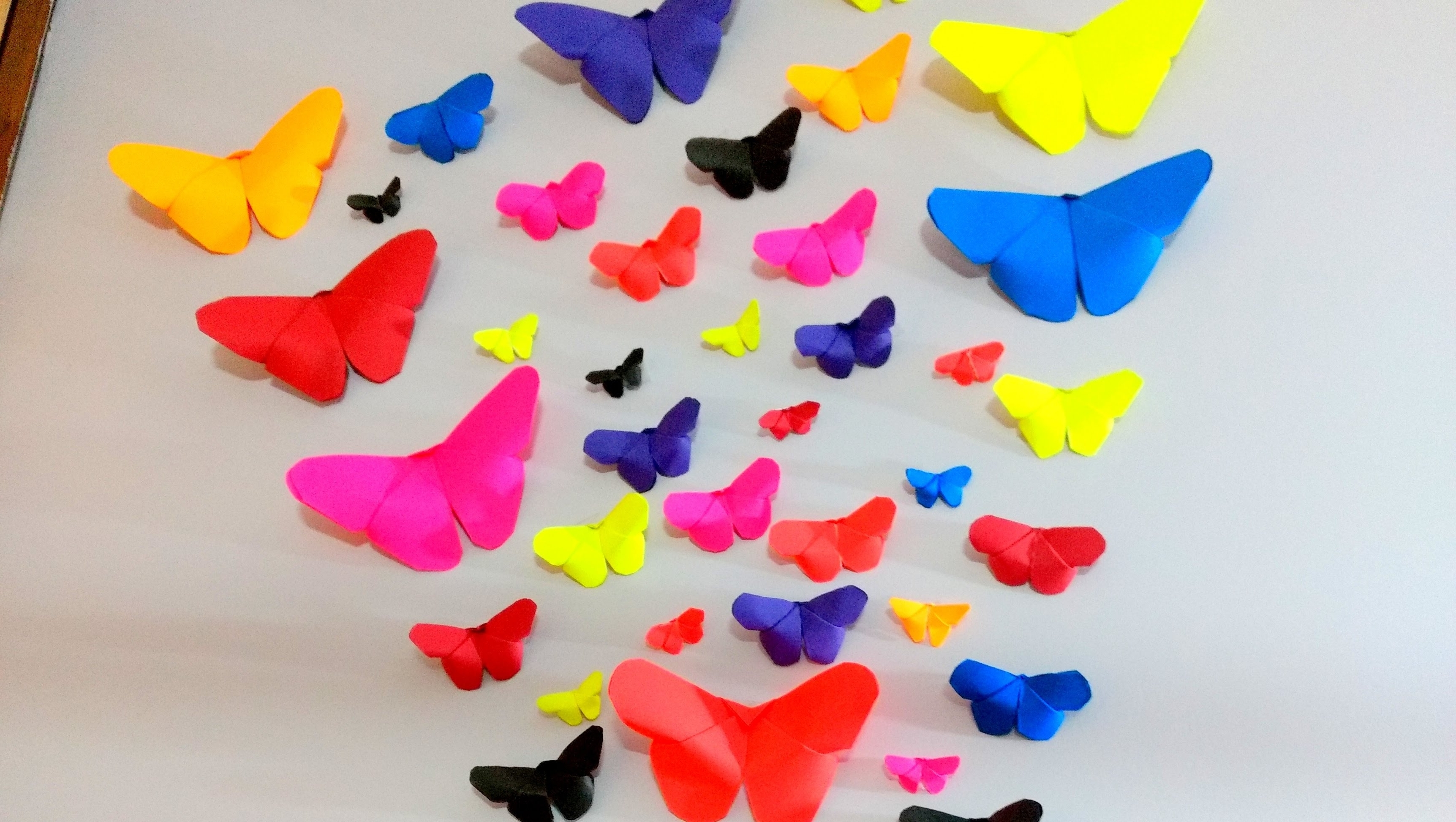 Rainbow Butterfly Wall Art For Well Known How To Make Paper Butterflies (View 9 of 15)