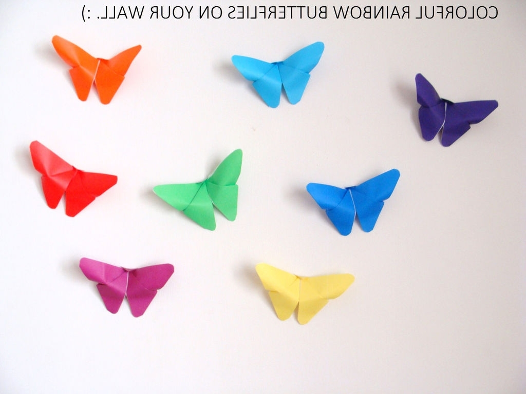Rainbow Butterfly Wall Art In Most Current Butterfly Origami Wall Decor: 17 Steps (With Pictures) (View 10 of 15)