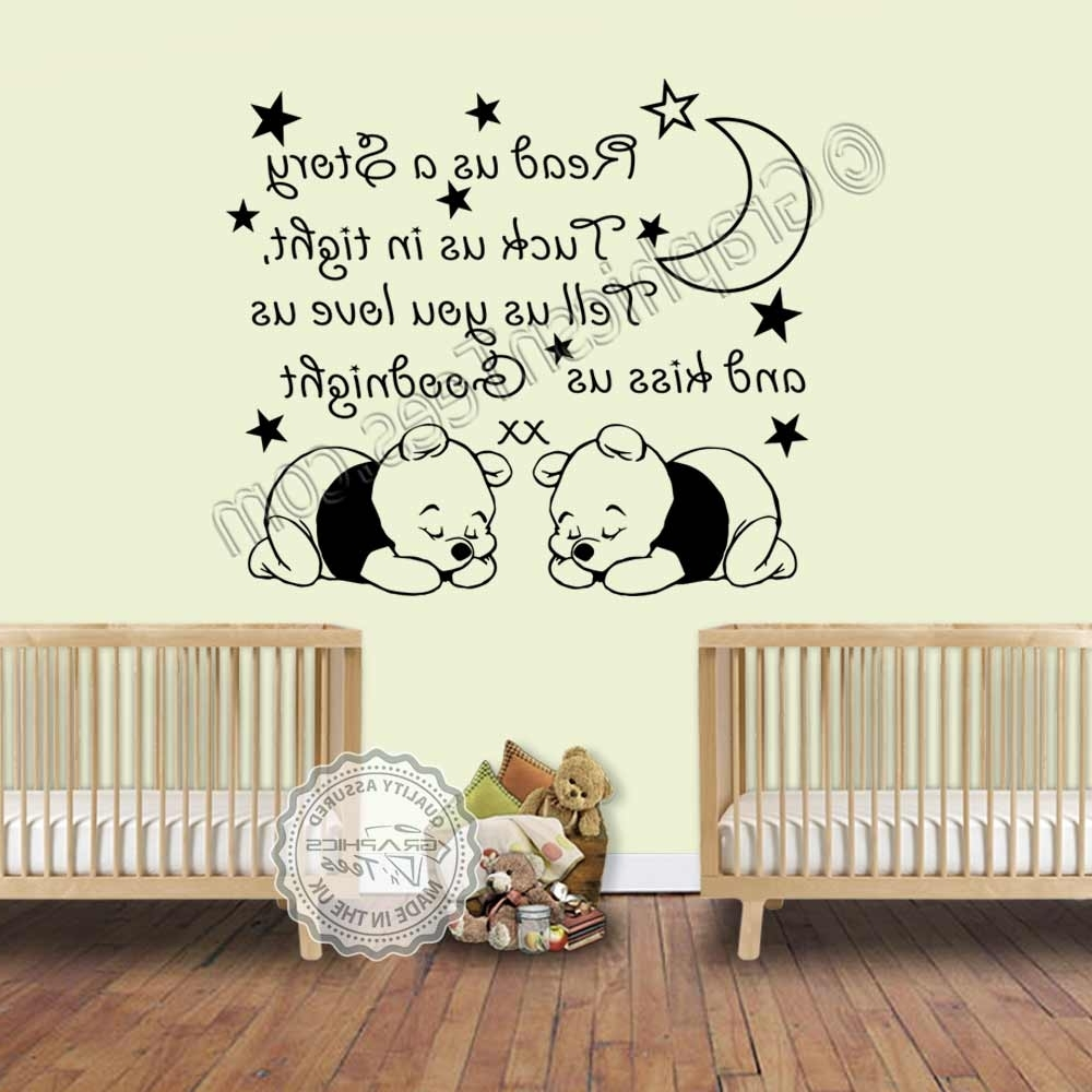 Read Us A Story Twins Nursery Wall Sticker With Two Sleeping Baby With Well Known Winnie The Pooh Nursery Quotes Wall Art (View 9 of 15)