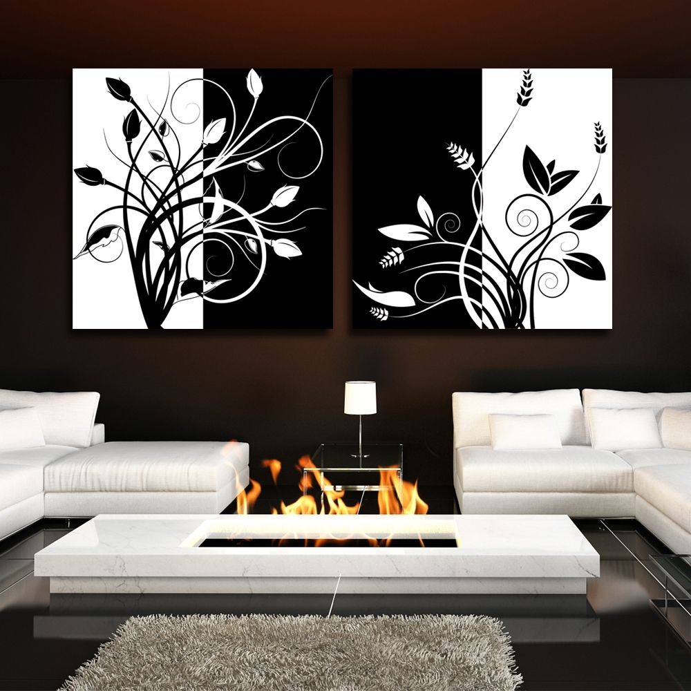 Recent 2 Piece Abstract Black And White Tree Home Decor Modern Canvas With Regard To Black And White Abstract Wall Art (View 10 of 15)