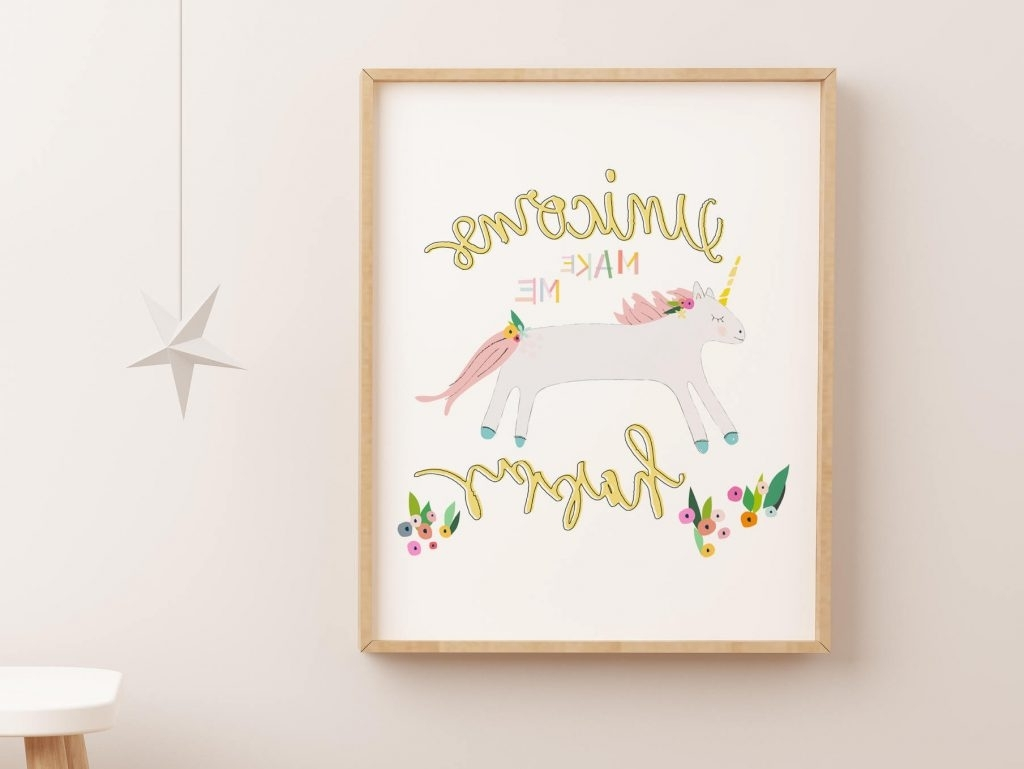 Recent 3D Unicorn Wall Art Regarding Homely Idea Unicorn Wall Art Or Happy Decor Print Printable Poster (View 13 of 15)