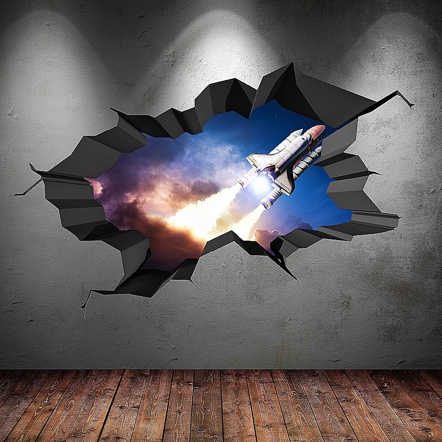 Recent 3D Visual Wall Art Regarding Visual Wall Art In 3D New 3D Full Colour Space Shuttle Rocket (View 11 of 15)