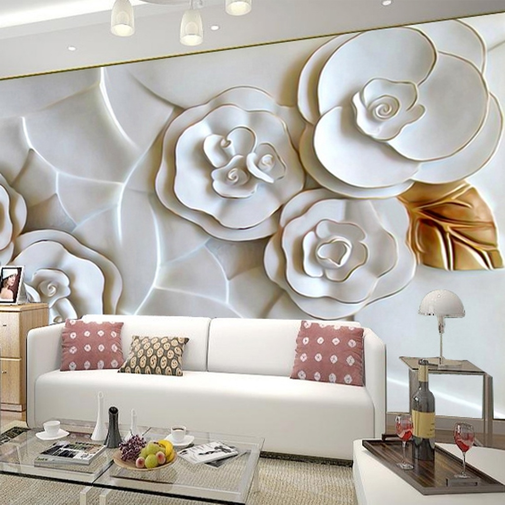 Recent 3D Wall Art Wallpaper With Family Room: Modern Magnolia 3D Floral Wall Decor For Impressive (View 11 of 15)