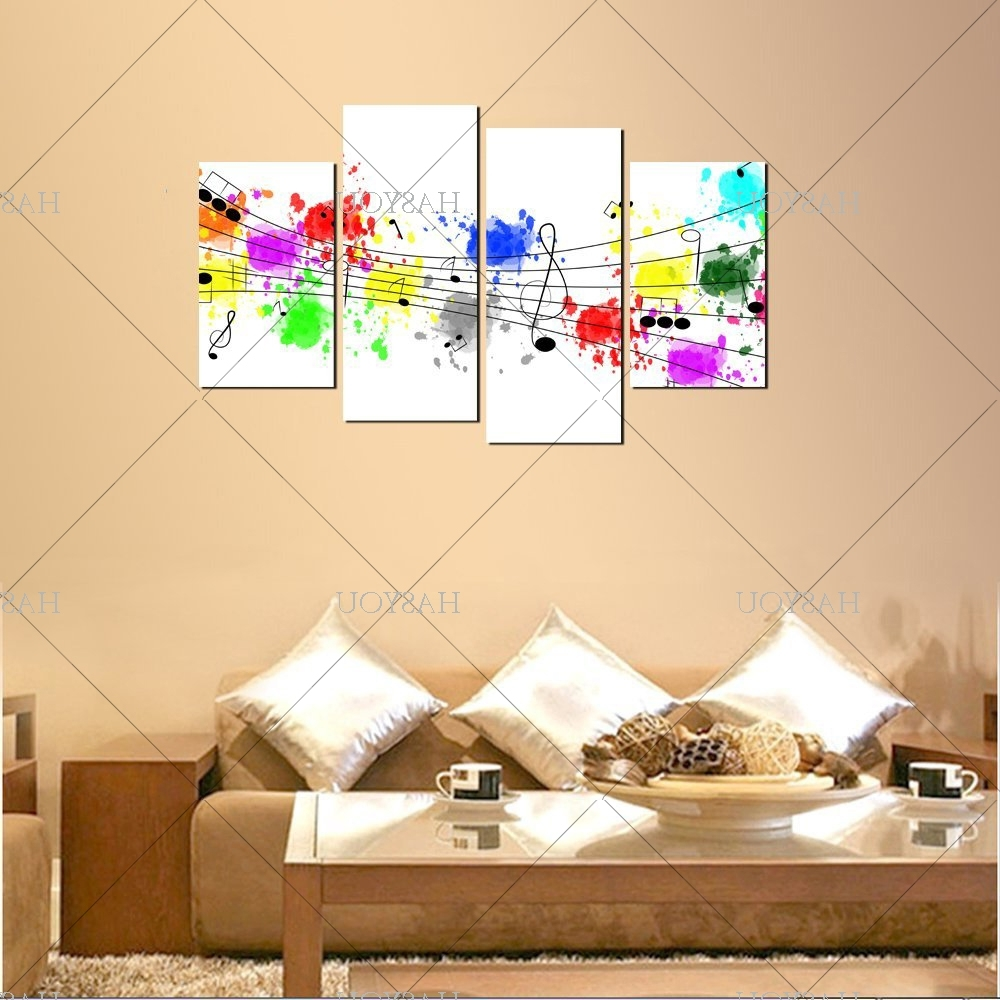 Recent 4 Pieces Still Life Pictures Handpainted Canvas Abstract Music For Abstract Music Wall Art (Gallery 15 of 15)