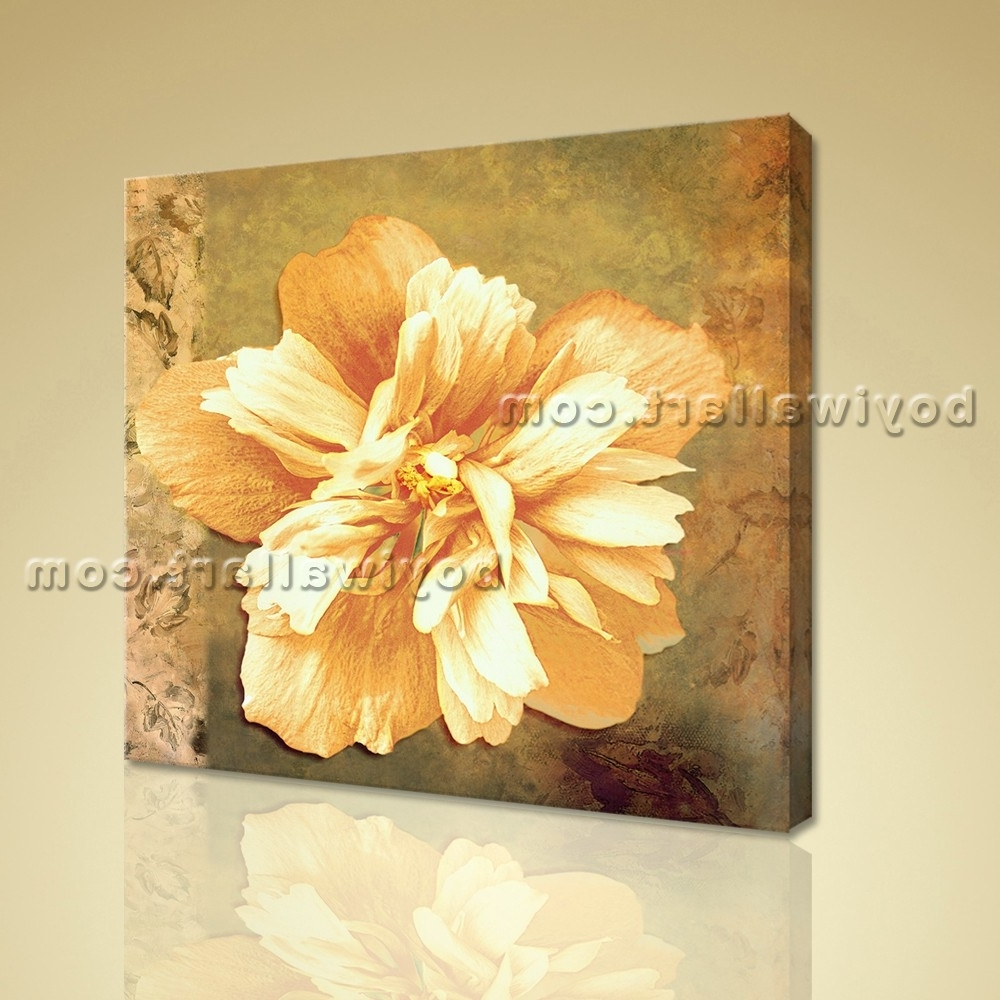 Recent Abstract Floral Painting Hd Print Flower Picture Canvas Wall Art Decor Pertaining To Abstract Floral Canvas Wall Art (View 13 of 15)
