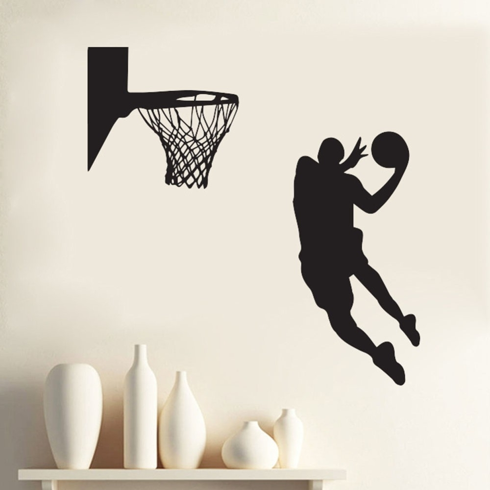 Recent Acting Cool Wall Decal Nba Slam Dunk Basketball Wall Mural Pertaining To Nba Wall Murals (View 12 of 15)