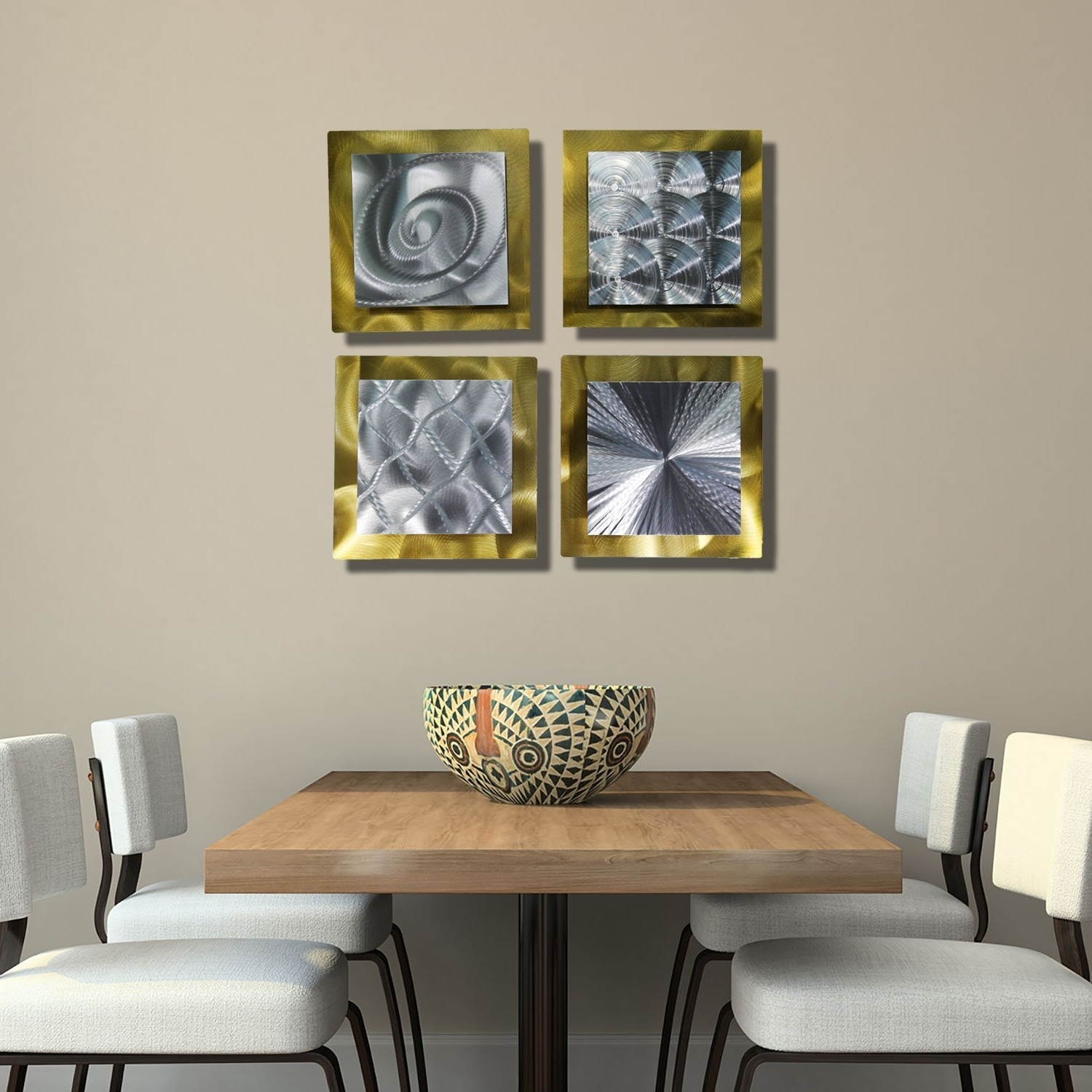 Recent Amazon: Gold & Silver Contemporary Metal Wall Art – Set Of 4 Intended For 3D Modern Wall Art (View 12 of 15)