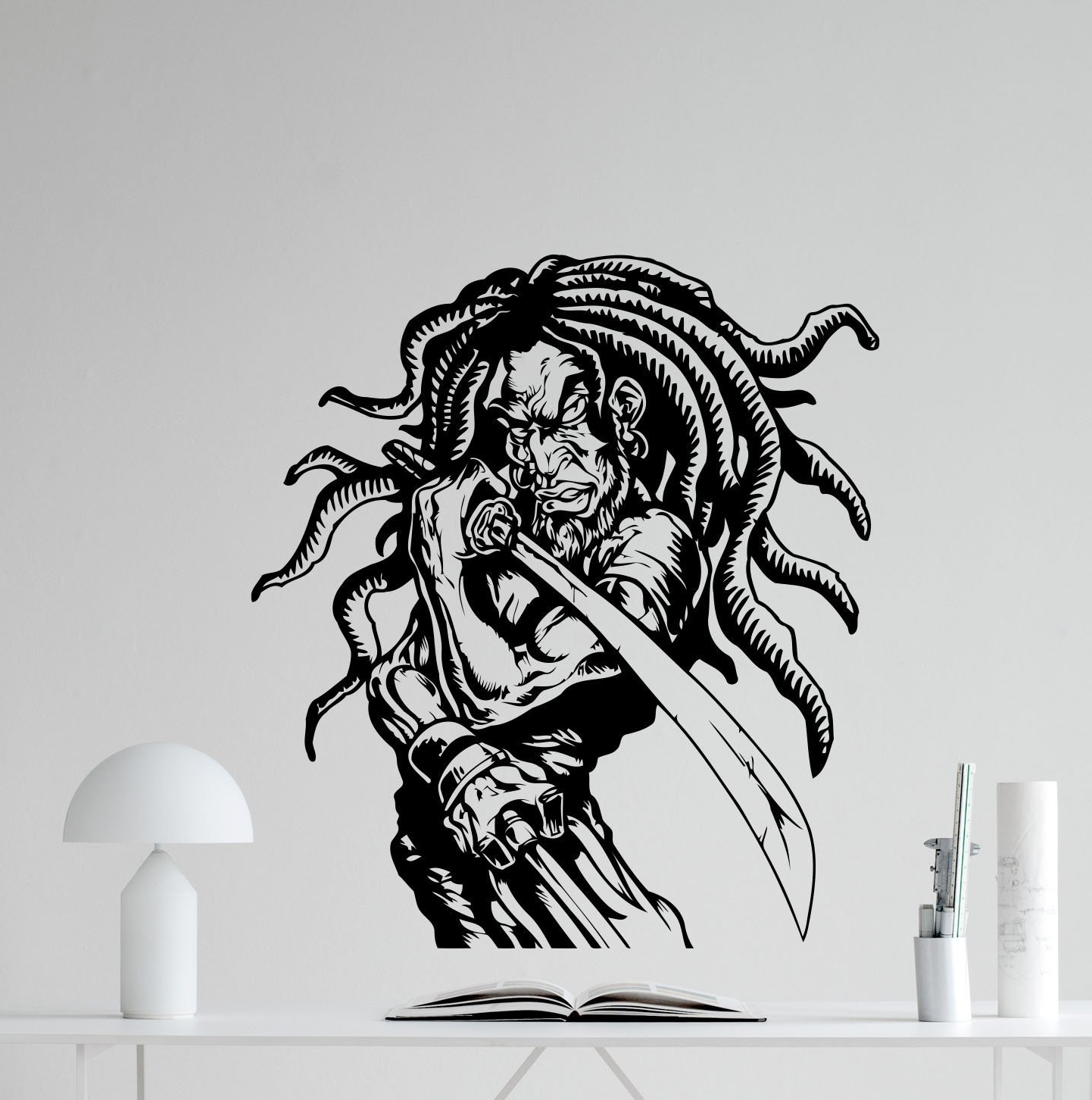 Recent Amazon: Rasta Samurai Wall Decal Rastaman Sword Ninja Warrior Intended For Samurai Wall Art (View 8 of 15)