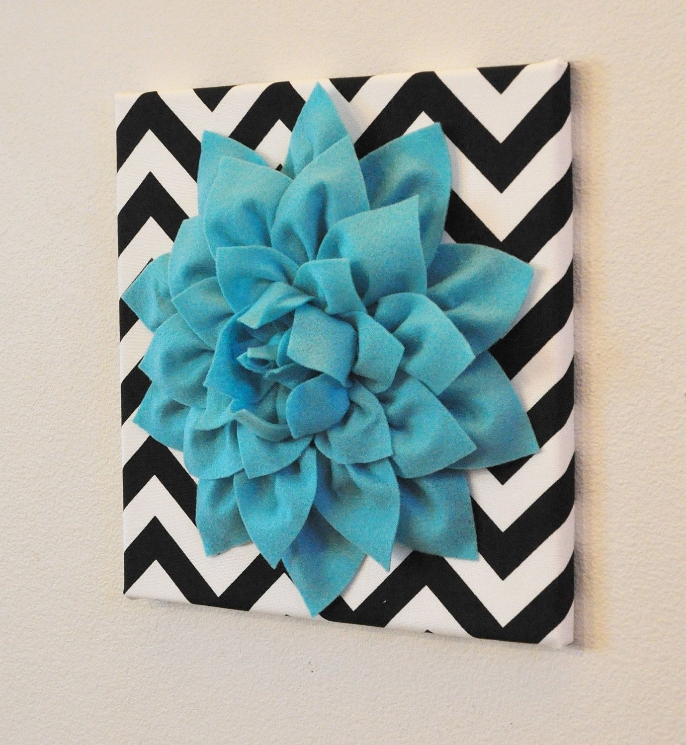 Recent Aqua+Wall+Flower+Turquoise+Dahlia+On+Black+And+White+By+Bedbuggs Pertaining To Turquoise And Black Wall Art (View 6 of 15)