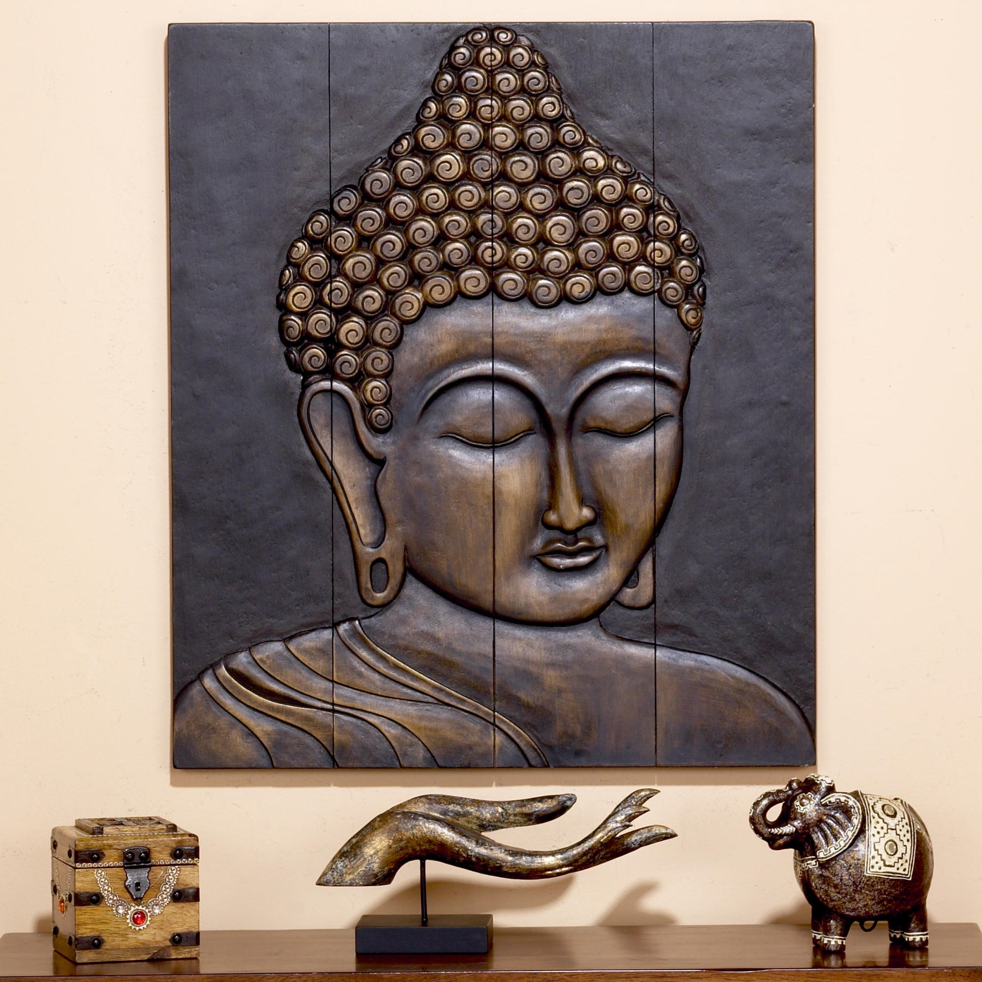 Recent Art For Wall Space Between Windows Over Couch – Love This Buddha Throughout Buddha Wooden Wall Art (View 9 of 15)