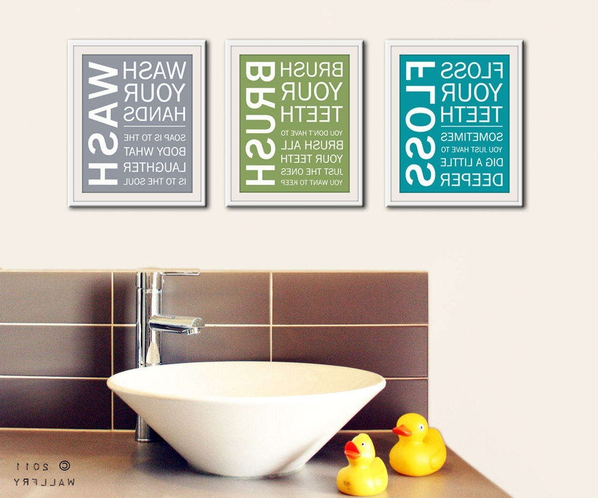 Recent Bath Wall Art Inside Wall Art Design Ideas: Floss Art For Bathroom Walls Brush Wash (View 3 of 15)