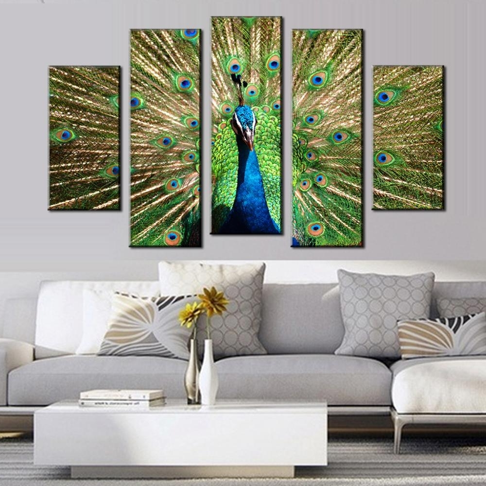 Recent Big Cheap Wall Art With Regard To Paintings 5 Pcs/set Artist Canvas Peacock Painting Big Size Top (View 6 of 15)