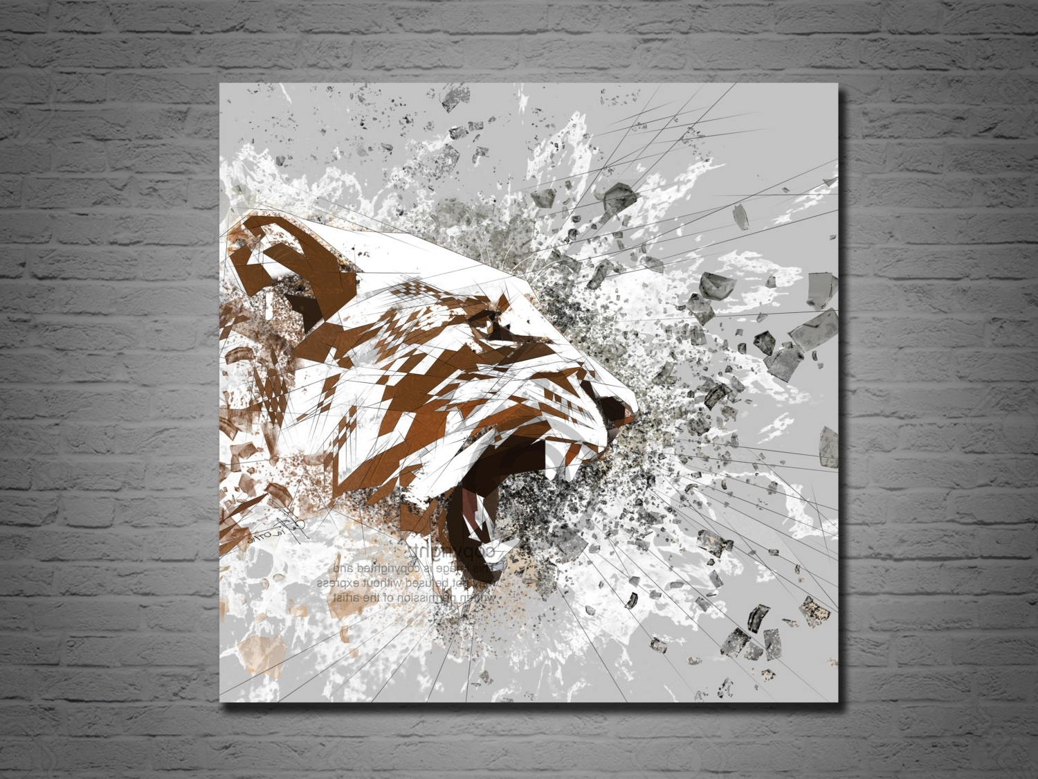 Recent Canvas Art Print Lion Abstract Art, Living Room Decor, Roaring Regarding Abstract Animal Wall Art (Gallery 7 of 15)