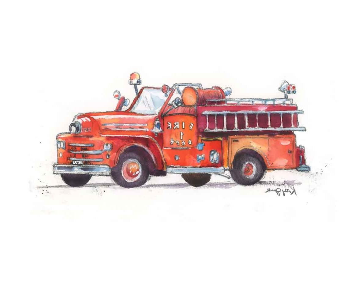 Recent Cute Red Fire Truck Print – Boy's Nursery – Vintage Fire Truck With Fire Truck Wall Art (View 12 of 15)