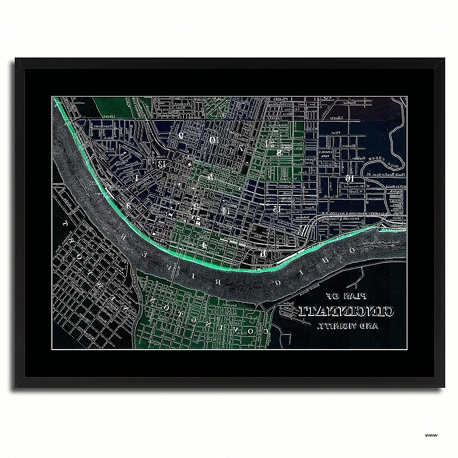 Recent Electronic Wall Art Luxury Cincinnati Vintage Vivid Color Map Home Intended For Electronic Wall Art (Gallery 5 of 15)