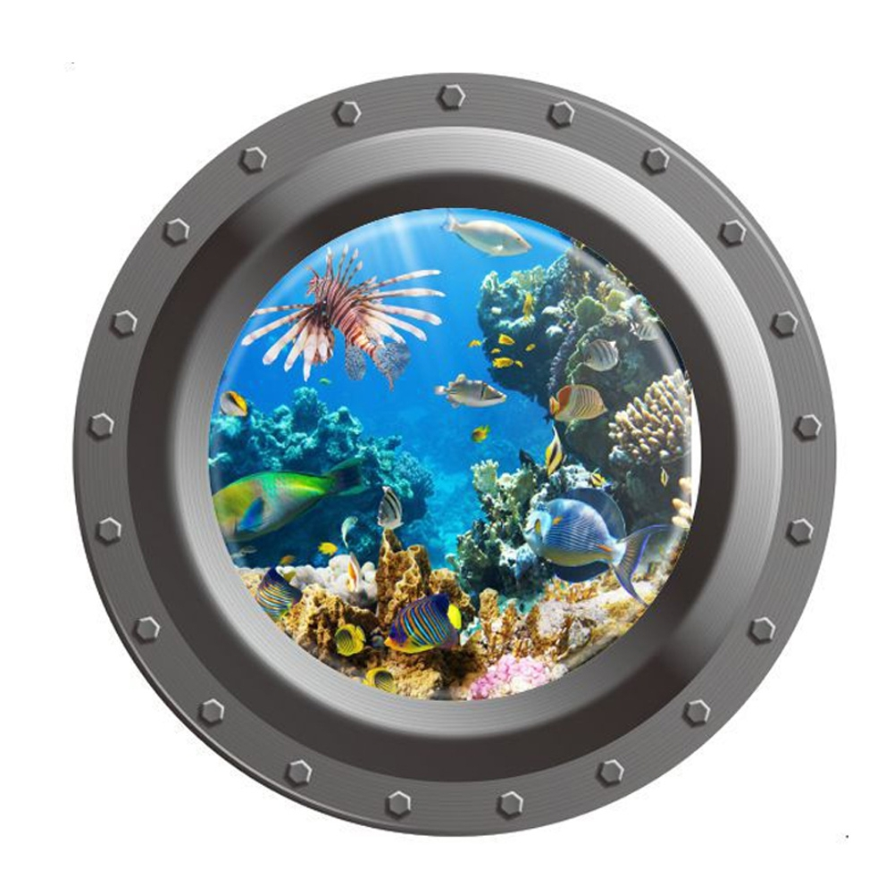Recent Fish Decals For Bathroom With 3D Ocean View Fish Window Wall Sticker Nursery Bathroom Decals Sea (View 14 of 15)