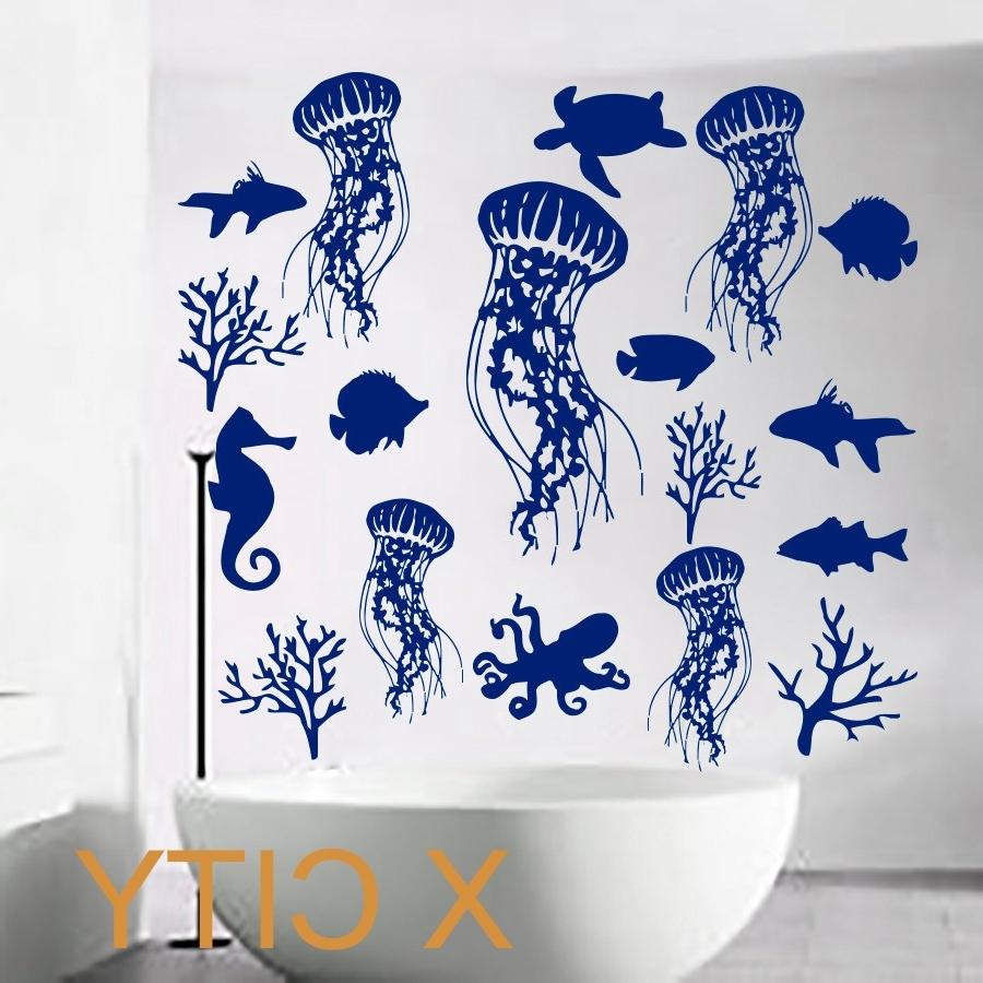 Recent Fish Wall Decal Sea Shell Art Jellyfish Vinyl Bathroom Stickers Regarding Fish Decals For Bathroom (View 15 of 15)