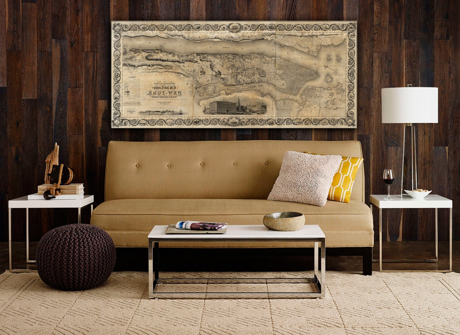 Recent Giant Vintage New York City Map Old Antique Restoration Hardware Intended For Antique Map Wall Art (View 13 of 15)
