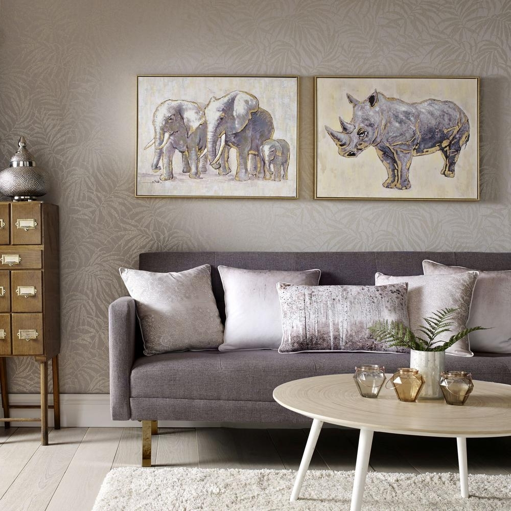 "Recent Graham & Brown 24 In. X 31 In. ""metallic Elephant Family"" Print With Regard To Graham & Brown Wall Art (Gallery 8 of 15)"