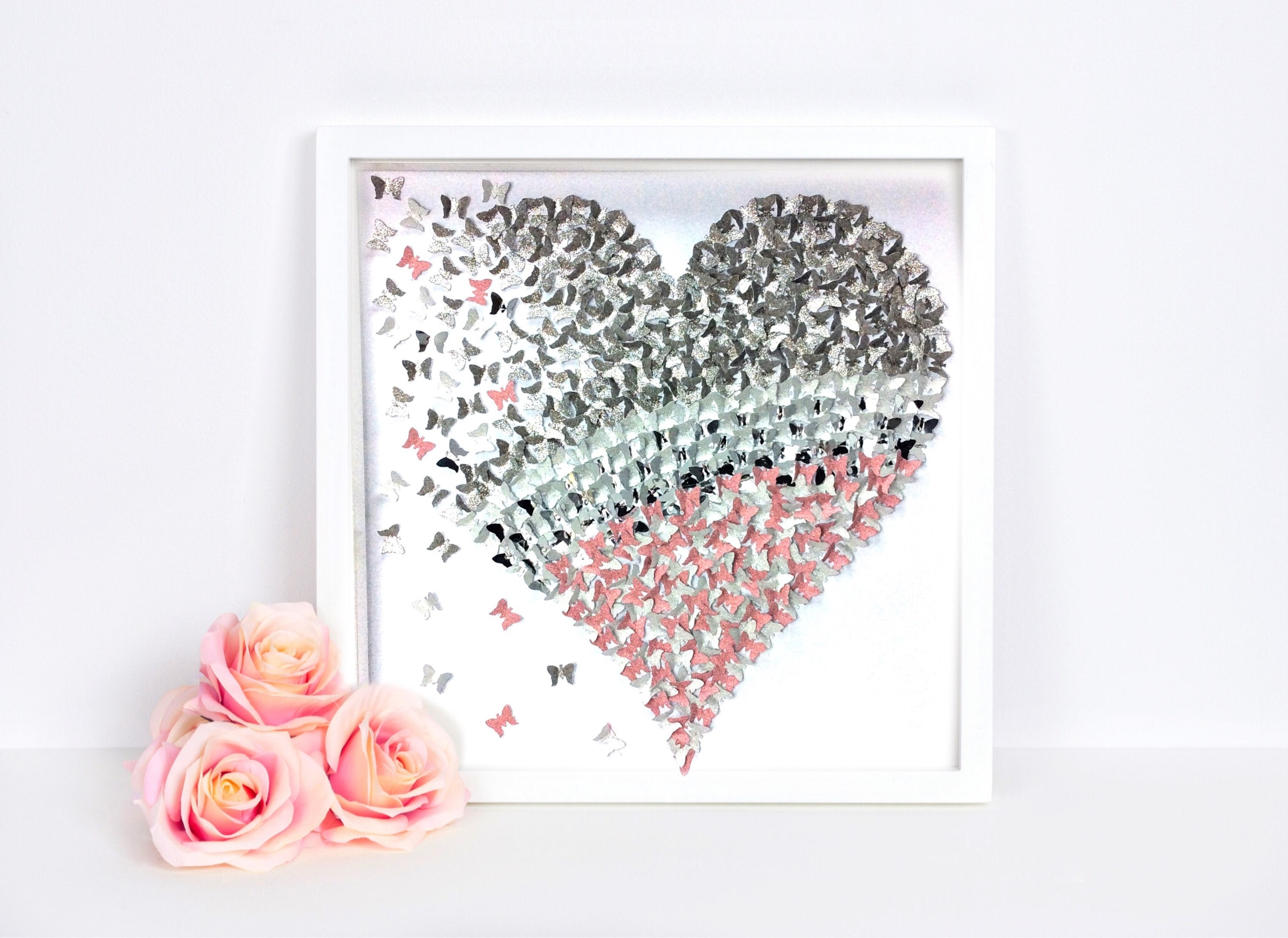 Recent Heart 3D Wall Art Pertaining To Silver Pink Paper Butterfly Heart , 3D Butterfly Wall Art (View 14 of 15)