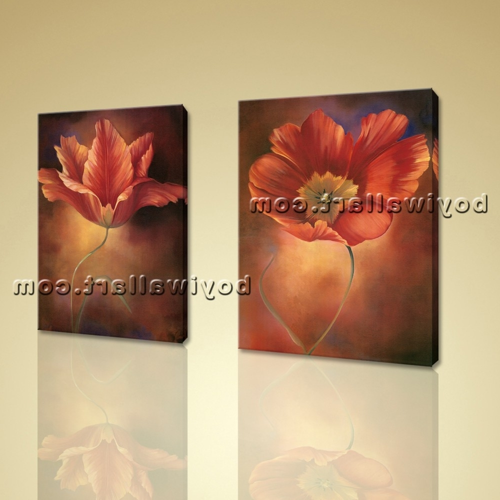 Recent Large Framed Abstract Wall Art Inside Framed Abstract Floral Giclee Prints On Canvas Wall Art For Living (View 7 of 15)