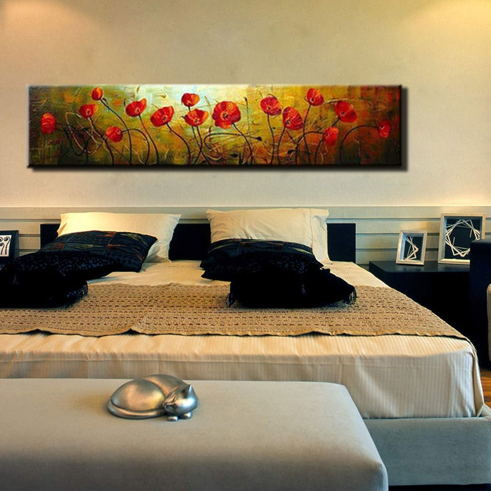 Recent Large Modern Wall Art Inside Abstract Modern Large Single Wall Art Red Poppy Hand Painted Oil (Gallery 5 of 15)