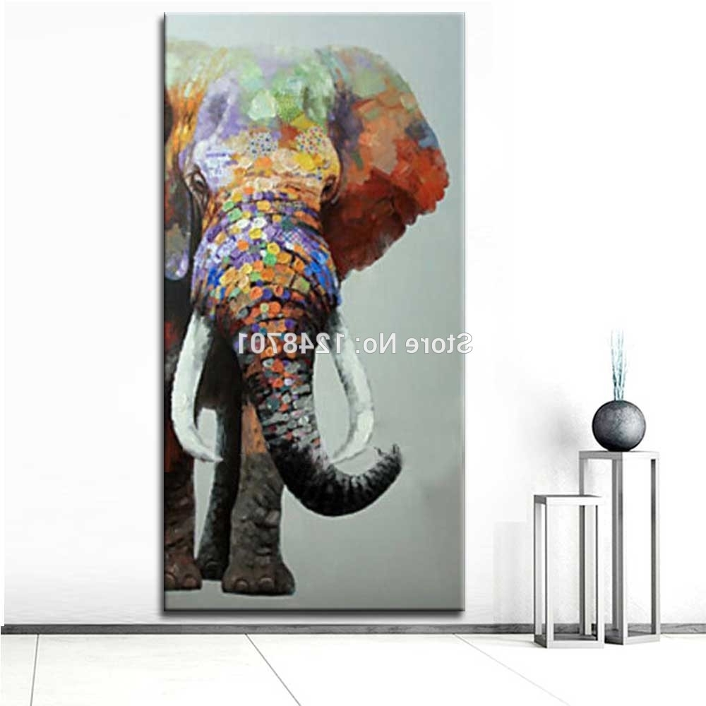 Recent Large Size Hand Painted Abstract Elephant Oil Painting On Canvas Throughout Abstract Elephant Wall Art (View 5 of 15)