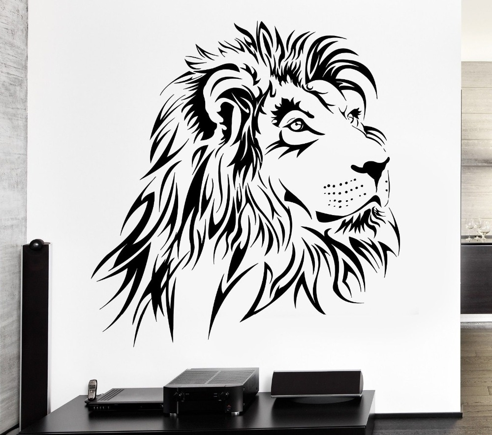 Recent Lion Wall Art In Home Decoration Lion Wall Decal Tribal Zoo Animal Vinyl Stickers (Gallery 12 of 15)