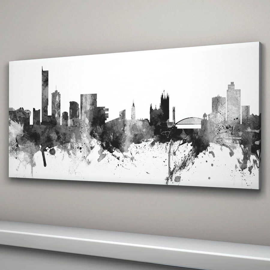 Recent Manchester Skyline Cityscape Black And Whiteartpause Regarding Cityscape Canvas Wall Art (Gallery 14 of 15)