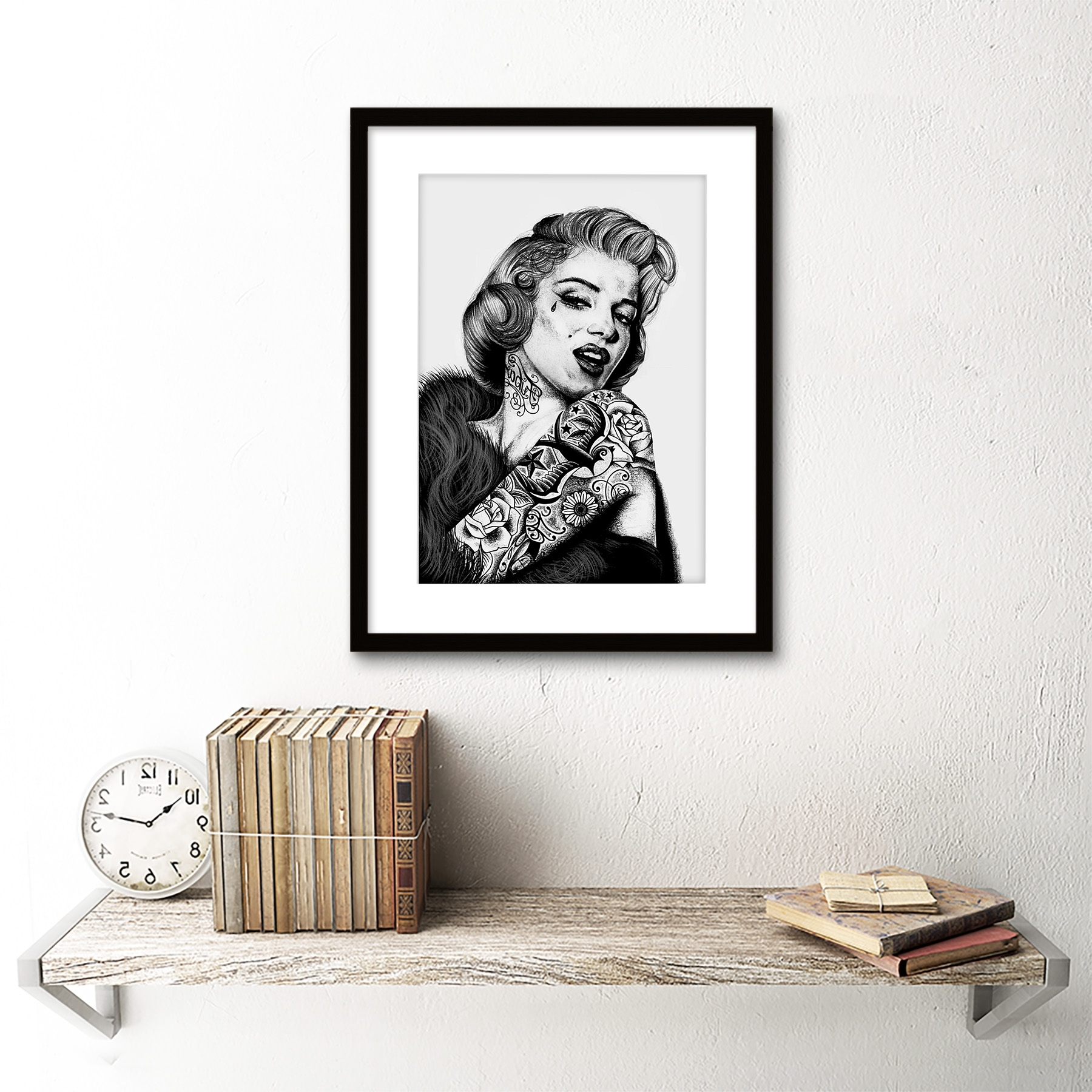 Recent Marilyn Monroe Tattoo Inked Ikon Icon Framed Art Printw Throughout Marilyn Monroe Framed Wall Art (View 14 of 15)