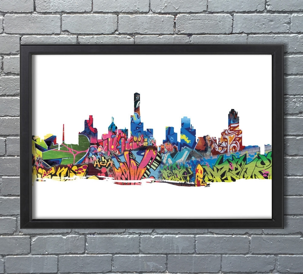 Recent Melbourne Abstract Wall Art Regarding Melbourne Skyline Abstract Graffiti, Street Art, Cityscape (View 11 of 15)