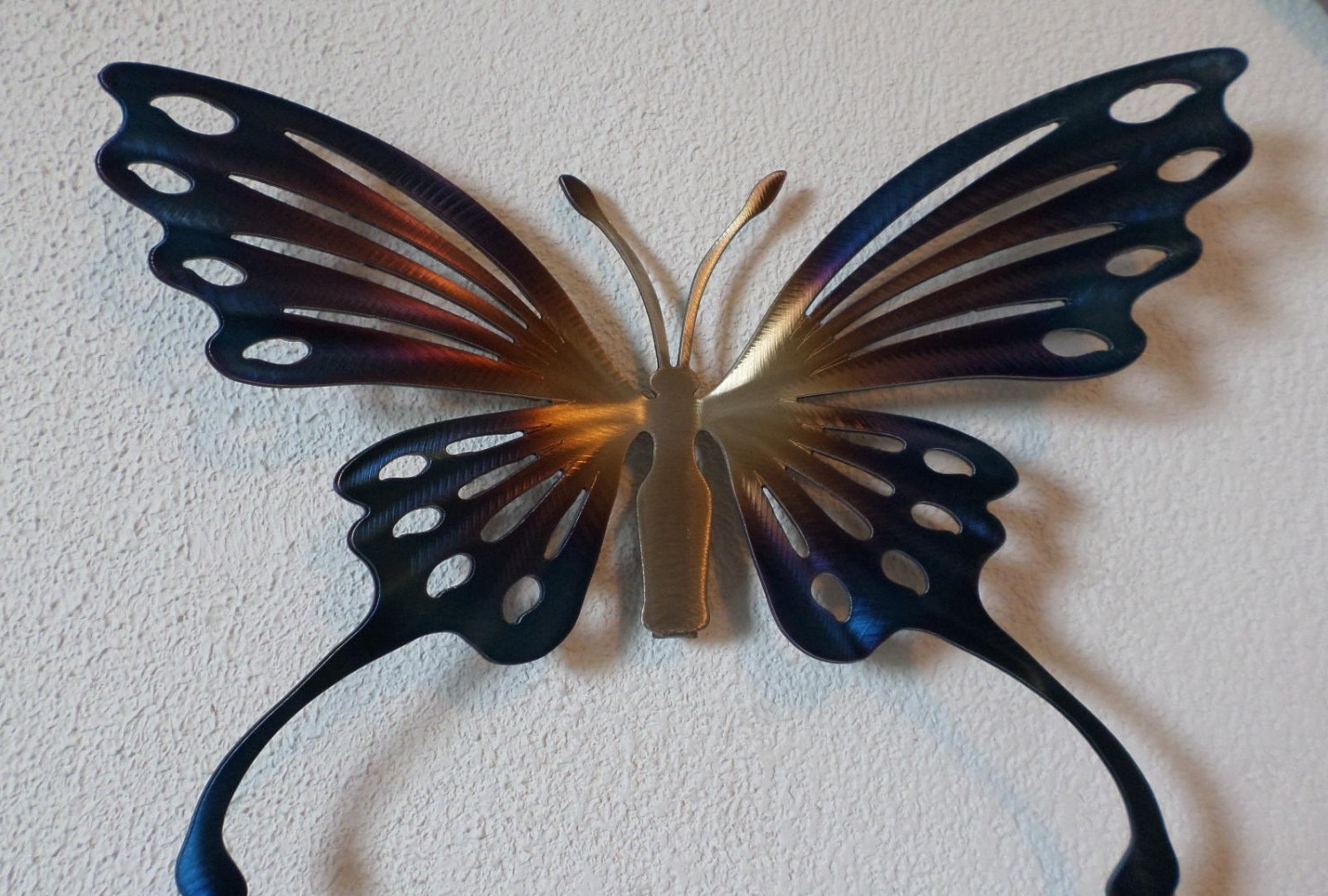 Recent Metal Butterfly Wall Decor Warm Brown Wall Art With Glass Pearls Regarding Large Metal Butterfly Wall Art (View 6 of 15)