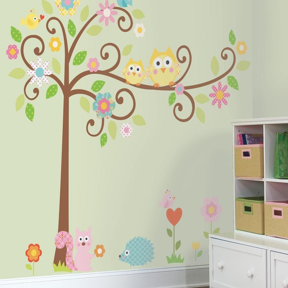 Recent Owl Wall Art Stickers In Amazon: Roommates Rmk1439Slm Scroll Tree Peel & Stick Wall (View 11 of 15)