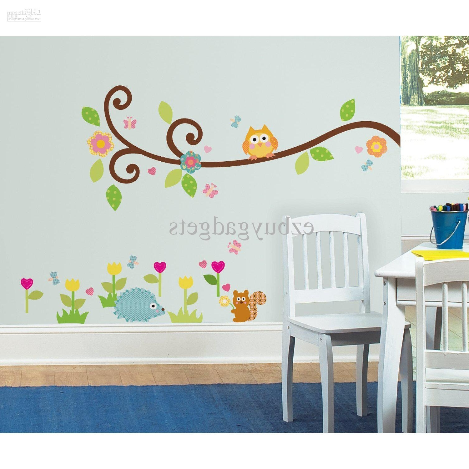 Recent Owl Wall Art Stickers With Regard To Scroll Branch Peel And Stick Wall Art Decals Owl Leaves Flowers (View 12 of 15)